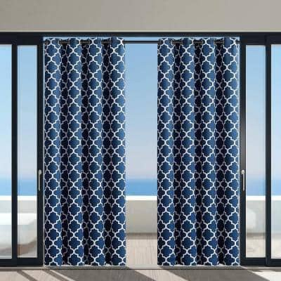 50 in x 96 in Patio Outdoor Curtain Waterproof UV Protection Top Grommet Drape Panel ,Dark Blue(1 Panel)