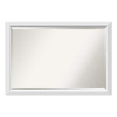 Blanco 40 in. W x 28 in. H Framed Rectangular Beveled Edge Bathroom Vanity Mirror in Satin White
