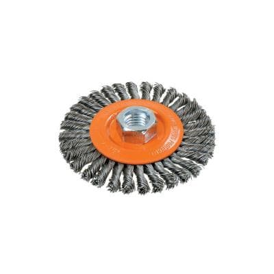 4 in. Stringer Bead Brush with Knot-Twisted Wires 5/8 in. - 11 in. Arbor