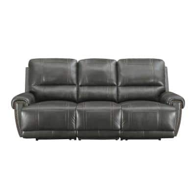 89.5 in. W Charcoal Gray Leather 3-Seats Sofa with Power Reclining