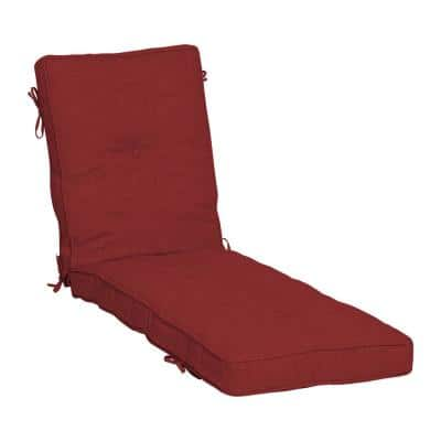 Plush BlowFill 22 in. x 30 in. Outdoor Chaise Lounge Cushion in Ruby Red Leala