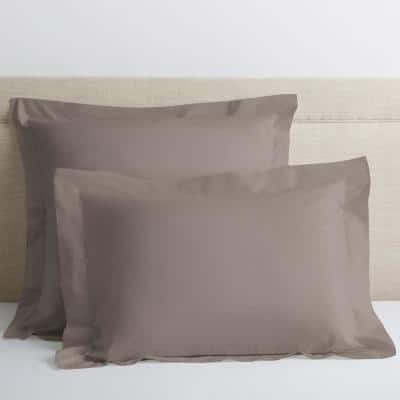 Cinder Solid 400-Thread Count Supima Cotton Percale Standard Sham