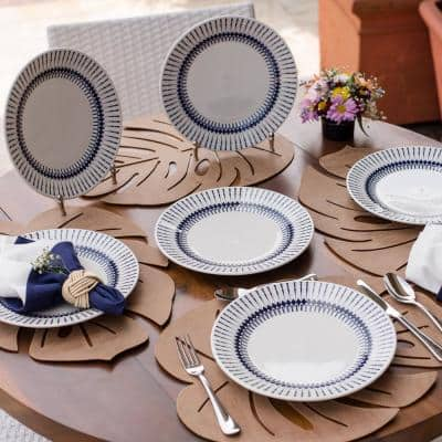 10.24 in. Actual Blue and Ivory Dinner Plates (Set of 6)