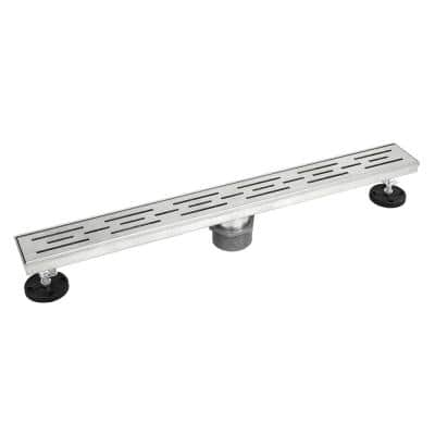 Shower Linear Drain 28 in. Brushed 304 Stainless Steel Stripe Pattern Grate with Adjustable Leveling Feet