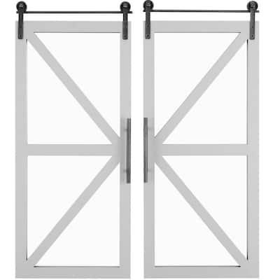 14 x 2 x 34 in. Wood Gray Carriage Farmhouse Barn Door Mirror 2-Piece Set