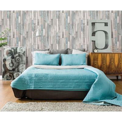 Barn Board Grey Thin Plank Grey Wallpaper Sample