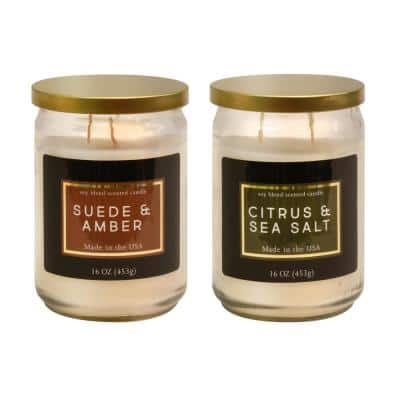 Suede and Amber and Citrus and Sea Salt Scented Wax Candles - Earth Blend Collection (Set of 2)
