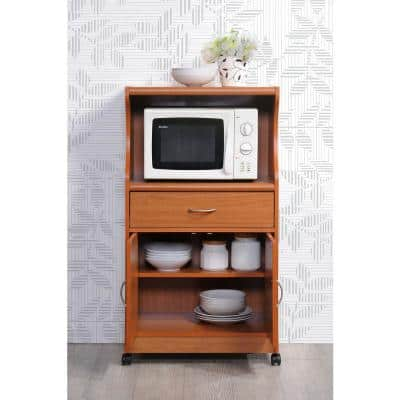 Cherry Microwave Cart with Storage