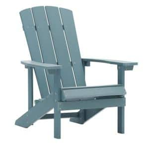 Light Blue Reclining Adult Size Weather Resistant Campfire Outdoor Plastic Resin Polystyrene Adirondack Chair