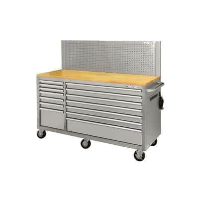 62 in. W x 24 in. D 14-Drawer Stainless Steel Mobile Workbench with Pegboard