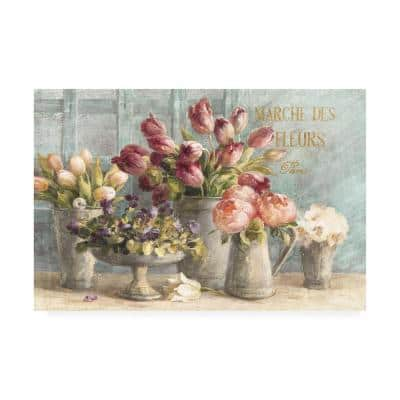 Marche Des Fleurs Blue Gold by Danhui Nai Floater Frame Nature Wall Art 30 in. x 47 in.