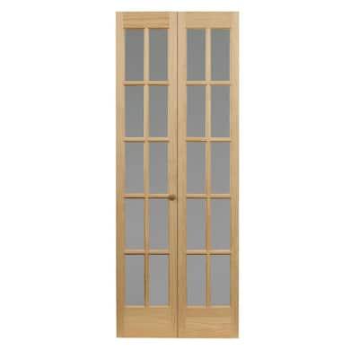 36 in. x 80 in. Classic French 10-Lite Opaque Glass/Wood Interior Bi-Fold Door