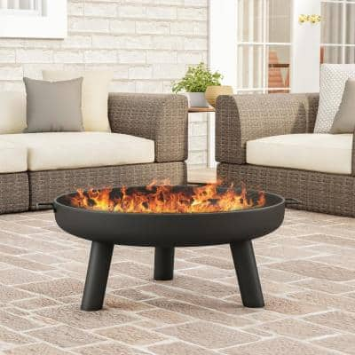 27.5 in. W x 13.5 in. H Round Steel Wood Burning Outdoor Fire Pit with Storage Cover