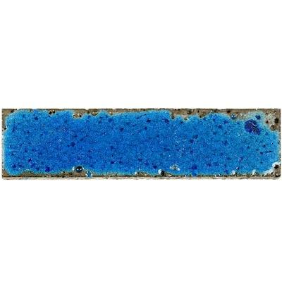 3 in. x 12 in. Magma Stone Blue Brick Glazed Subway Tile Sample