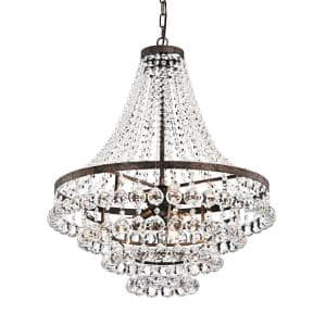 7-Light Antique Copper Empire Chandelier with Hanging Crystals