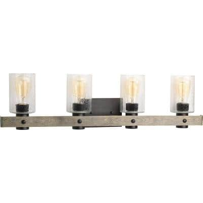 Gulliver Collection 4-Light Graphite Clear Seeded Glass Coastal Bath Vanity Light