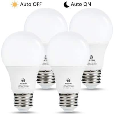 40-Watt Equivalent A19 6W Non-Dimmable Dusk to Dawn LED Light Bulb E26 Base in Warm White 2700K (4-Pack)