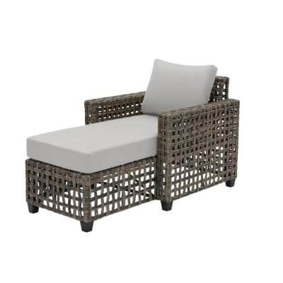 Briar Ridge Brown Wicker Outdoor Patio Chaise Lounge with CushionGuard Stone Gray Cushions