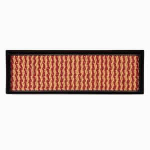 46.5 in. x 14 in. x 1.5 in. Black Metal Boot Tray with Tan & Red Coir Insert