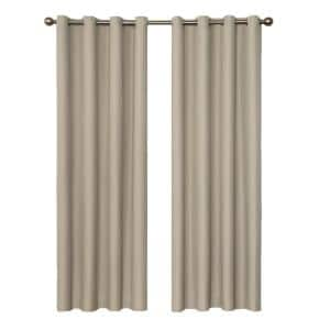 String Beige Thermal Grommet Blackout Curtain - 52 in. W x 95 in. L