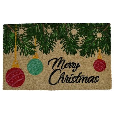 "PVC Backed Merry Christmas, 30""x18""x0.5"", Natural Coconut Husk Coir Door Mat"