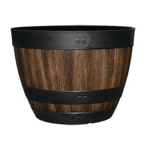 16 in. Dia x 11.5 in. H Kentucky Walnut Resin Wine Barrel
