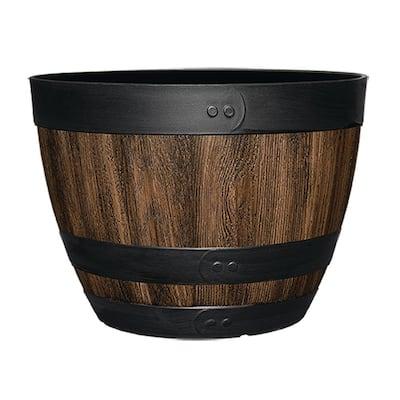 16 in. Dia x 11.5 in. H Kentucky Walnut Resin Wine Barrel