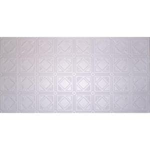 Dimensions Faux 2 ft. x 4 ft. Tin Style Ceiling and Wall Tiles in White