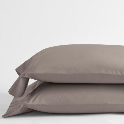 Cinder Solid 400-Thread Count Supima Cotton Percale King Pillowcase (Set of 2)