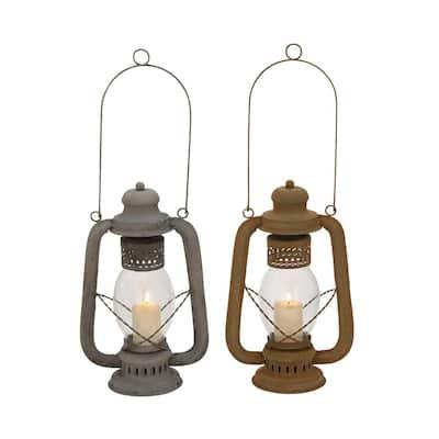 Grey Metal Rustic Candle Lantern (Set of 2)