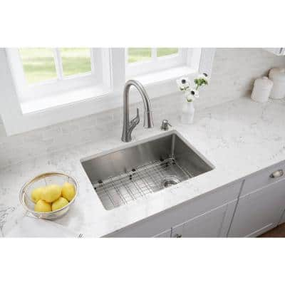 Brushed Stainless Steel 27 in. 18-Gauge Tight Radius Single Bowl Undermount Kitchen Sink with Grid and Strainer