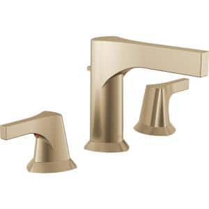 Zura 8 in. Widespread 2-Handle Bathroom Faucet with Metal Drain Assembly in Champagne Bronze