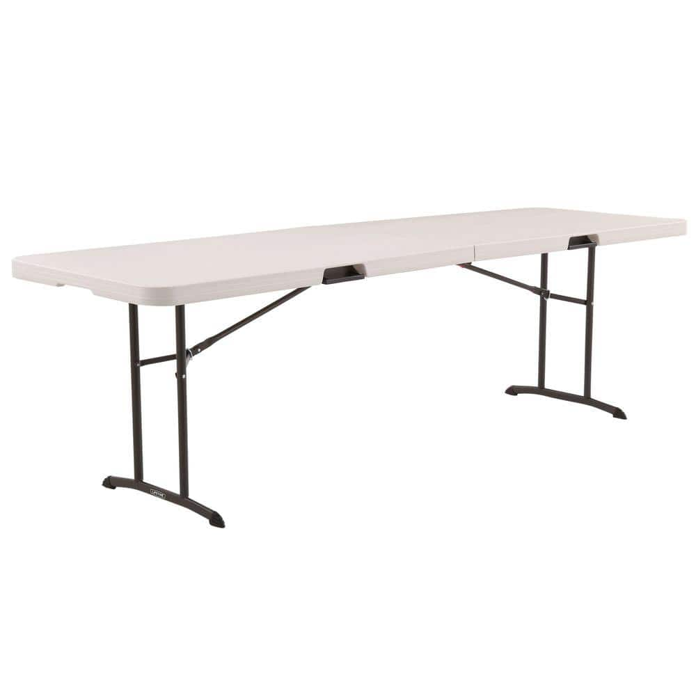 Lifetime 96 In Almond Plastic Portable Fold Half Folding Banquet Table 80175 The Home Depot