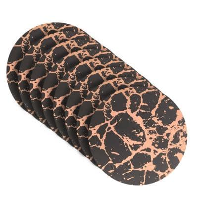 Marble 15 in. x 15 in. Black/Rose Gold Cork Placemat (Set of 8)