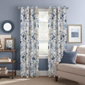 Indigo Floral Grommet Room Darkening Curtain - 52 in. W x 84 in. L