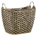 Large Seagrass Basket with Black Diamonds and Metal Handles, 20.65in x 18.4in