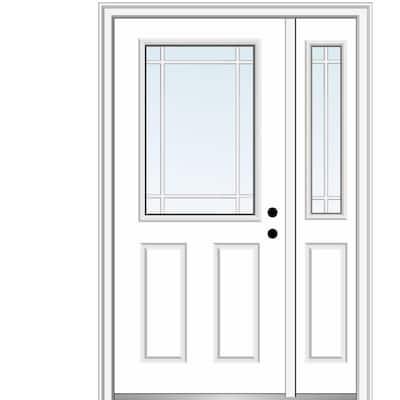 51 in. x 81.75 in. PIM 1/2 Lite 2-Panel Left Hand Classic Primed Fiberglass Smooth Prehung Front Door with One Sidelite