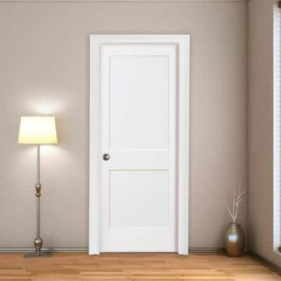 32 in. x 80 in. 2-Panel Square Primed Shaker Solid Core Wood Single Prehung Interior Door Right Hand with Bronze Hinges