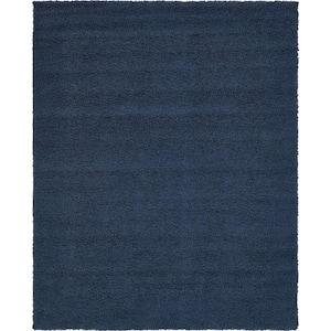 Solid Shag Navy Blue 8 ft. x 10 ft. Area Rug
