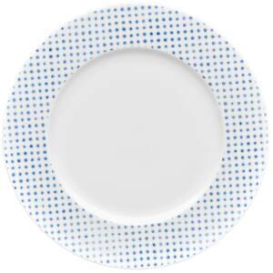 Blue/White Hammock Porcelain Dots Rim Dinner Plate 11 in.
