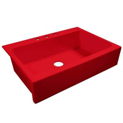 Josephine Quick-Fit Drop-in Farmhouse Fireclay 33.85 in. 3-Hole Single Bowl Kitchen Sink in Candy Apple Gloss Red