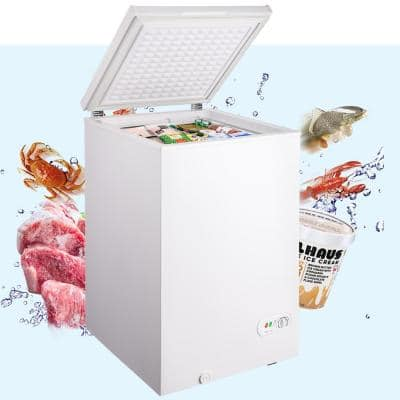 3.5 cu. ft. Manual Defrost Residential Chest Freezer in Stainless Steel, Removable Storage Basket 7 Temperature Settings