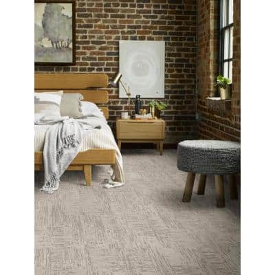 Nature's Linen - Color Moongaze Residential 9 in. x 36 in. Peel and Stick Carpet Tile (8 Tiles / Case)