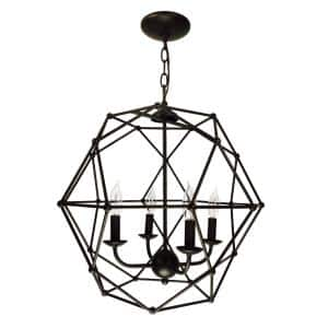 4-Light Rubbed Oil Bronze Pendant with Metal Shade
