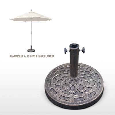 Outdoor 30 lbs.  19.1 in. Dia Resin Heavy Duty Market Patio Umbrella Base in Bronze