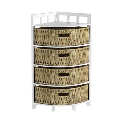 Shelly Half-Round Water Hyacinth Wood Decorative Corner Storage Basket