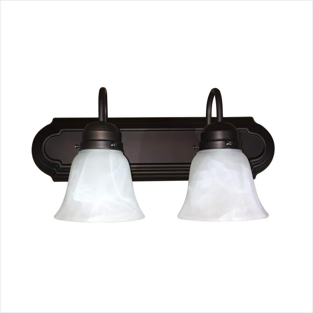Monica 2 Light Oil Rubbed Bronze Bathroom Vanity Light L22 Rb The Home Depot