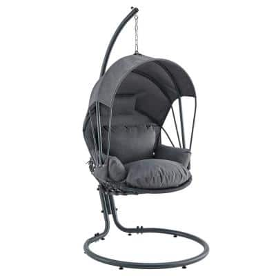 Gray Patio Hanging Egg Swing Chair with UV Resistant Polyester Fabric Canopy Cover and Powder Coated Steel Frame Stand