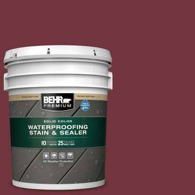 5 gal. #S130-7 Cherry Cola Solid Color Waterproofing Exterior Wood Stain and Sealer