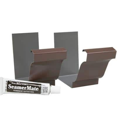 5 in. Brown Aluminum Gutter Seamer with Seamermate (2-Pack)